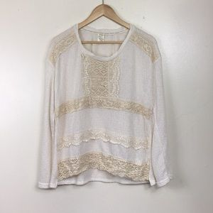 Vintage Ivory & Cream Lace Knit Sweater